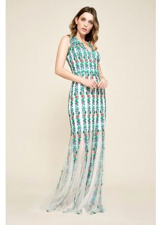 花朵刺绣网纱拼接V领长裙