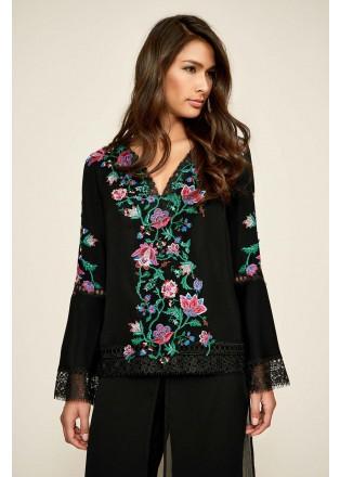 花朵刺绣拼接V领上衣