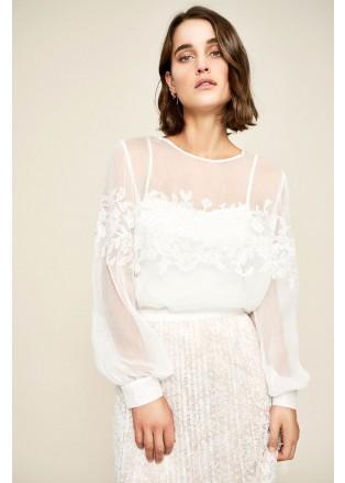 花朵蕾丝雪纺拼接上衣