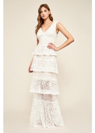 V领层叠修身长裙