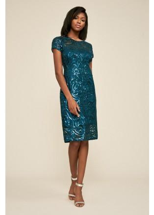 珠片刺绣直身连衣裙