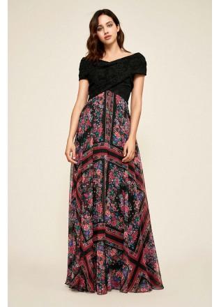 花卉印花露肩拼接长裙
