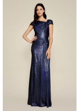 珠片蕾丝压褶弹力条拼接修身长裙