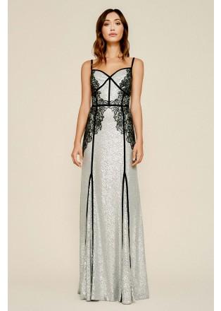 绣花蕾丝拼接珠片长裙