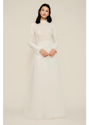 复古蕾丝网纱长裙