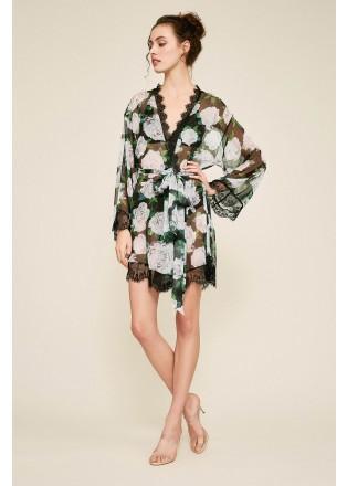 蕾丝装饰花朵印花睡袍