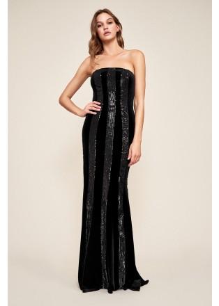 珠片条纹拼接抹胸长裙