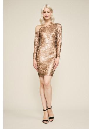 几何亮片长袖直身连衣裙