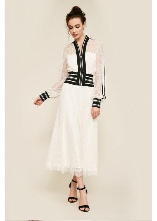 蕾丝条纹假两件棒球连衣裙