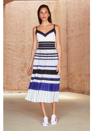 蓝黑条纹压褶吊带连衣裙
