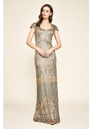 花朵珠片蕾丝盖袖修身长裙