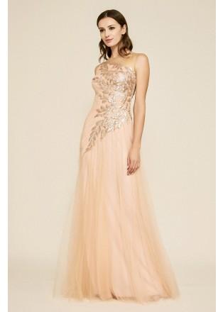 珠片绣花蕾丝网纱长裙