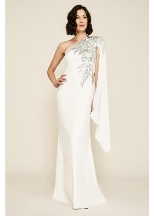 珠片蕾丝装饰单肩长裙