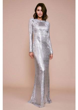珠片绣花拼接长袖长裙