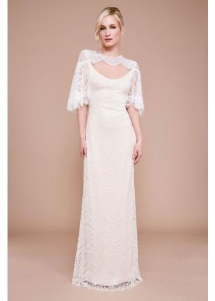 披风式蕾丝绣花镂空长裙