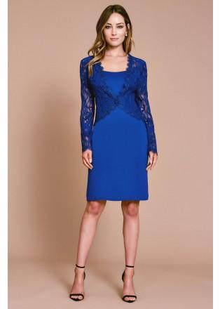 刺绣蕾丝假两件式直身连衣裙