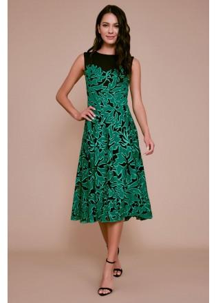 绣花蕾丝撞色摆浪连衣裙