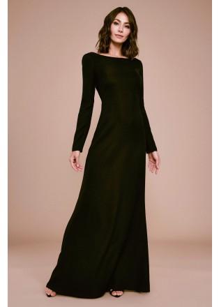 露背精致刺绣修身长裙