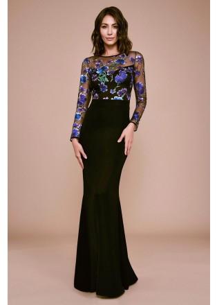 花朵刺绣拼接修身长裙