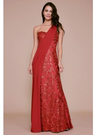 珠片绣花拼接单肩长裙