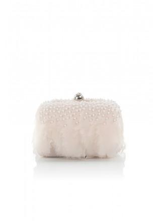 羽毛珍珠方型手包