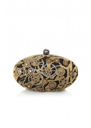 金属蕾丝齿轮装饰椭圆形手包