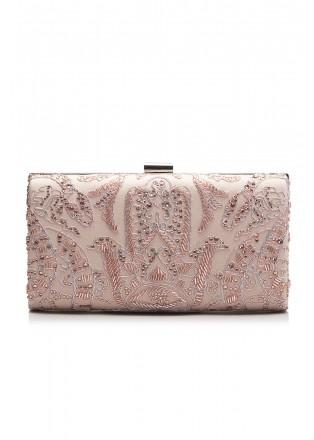 裸粉色蕾丝钉珠手包