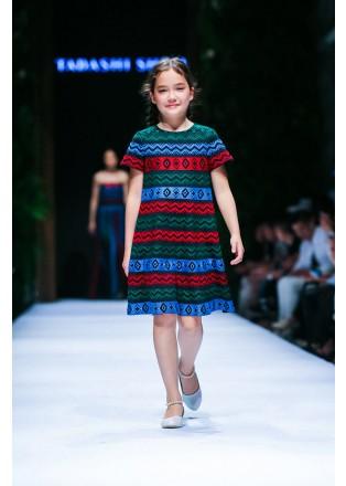 部落图案彩条连衣裙