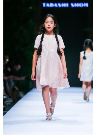 几何蕾丝短袖连衣裙