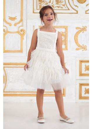 羽毛蕾丝花童礼服