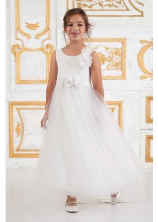 薄纱蕾丝花朵装饰花童礼服