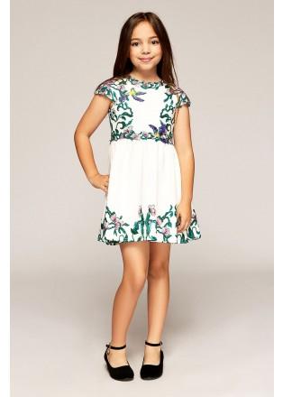 花鸟图案刺绣连衣裙