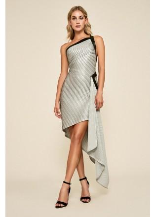 弹力打条针织镶条斜肩连衣裙