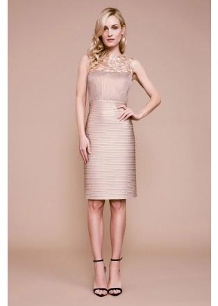 压褶弹力针织蕾丝修身连衣裙
