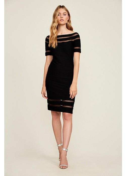 打条针织修身连衣裙