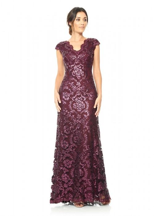 珠片绣花蕾丝V领长裙