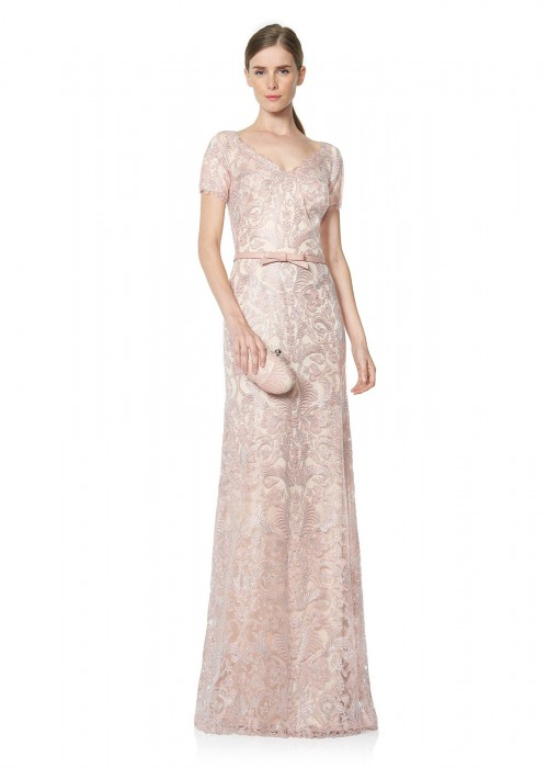 绣花蕾丝腰带装饰修身长裙