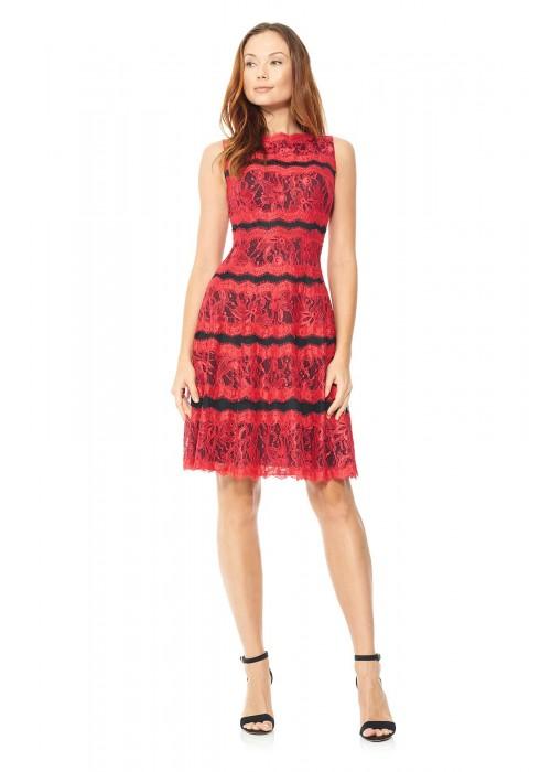 经编蕾丝条状设计圆形喇叭裙