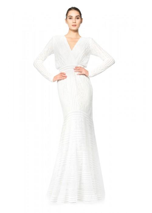 条纹花朵雷丝V领长袖长裙