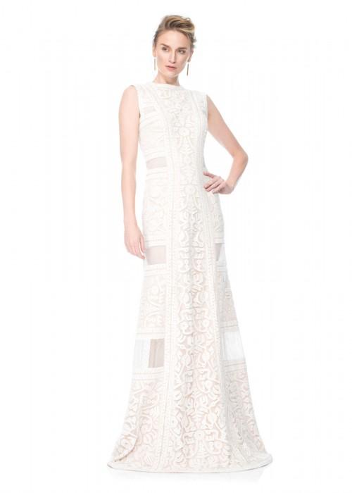 绣花蕾丝镂空网纱修身长裙