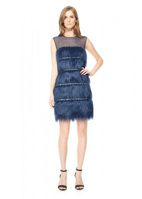 层叠设计水晶装饰皮草连衣裙