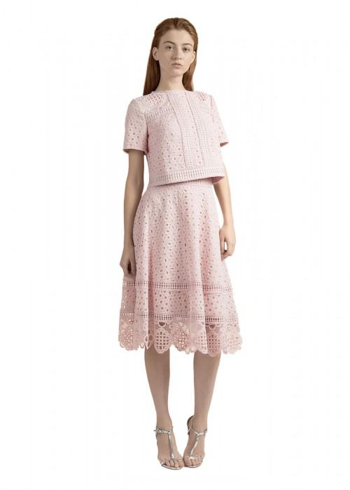 镂空绣花短袖摆浪裙套装