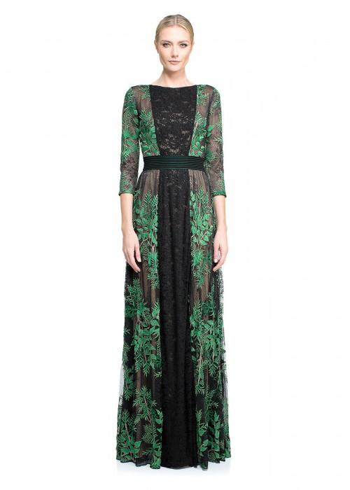 丛林绣花网纱修身长裙