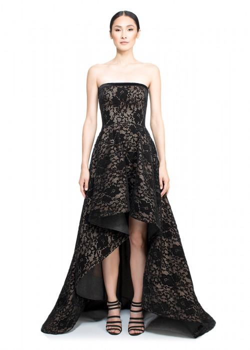 天鹅绒蕾丝高低裙抹胸长裙