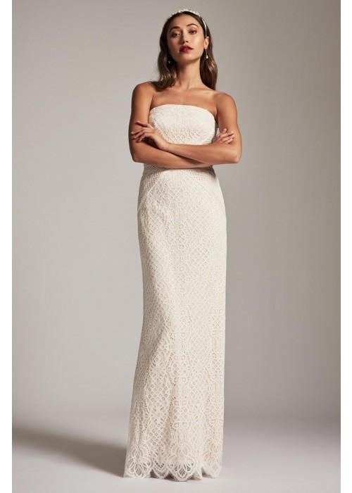 白色刺绣抹胸修身长裙
