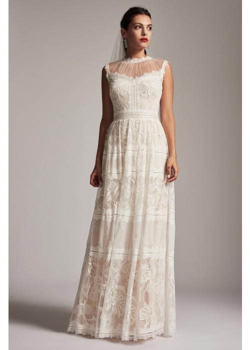 花朵蕾丝镂空拼接长裙