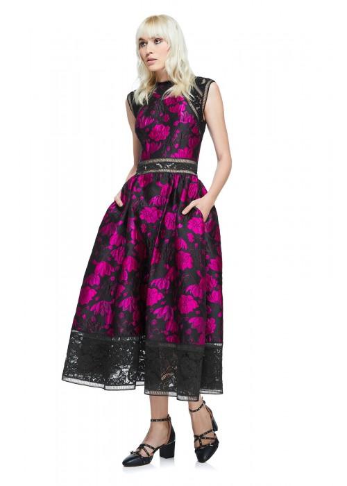 花朵提花摆浪连衣裙