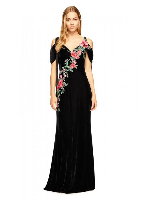 丝绒花朵绣花吊带长裙