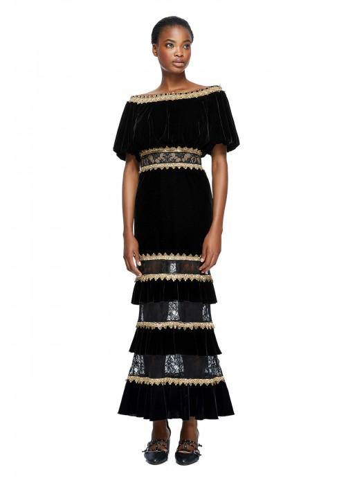 丝绒镶条层叠连衣裙