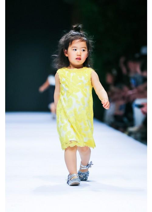 黄色非洲菊连衣裙